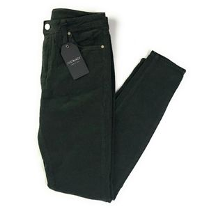 Just Black Pine Green Mid Rise Corduroy Skinny 33